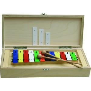 Metalofón, 12 kláves, v drevenej krabičke