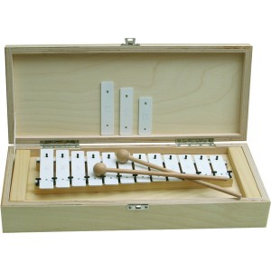 Metalofón, 12 kláves, biely, v drevenej krabičke
